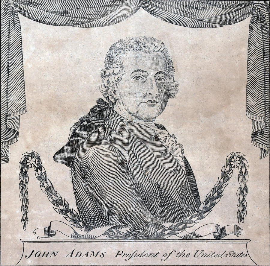 President John Adams, Engraving By Amos Photograph