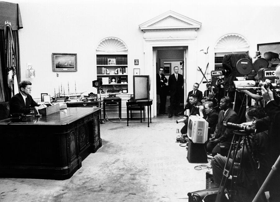 President John Kennedy Television Photograph