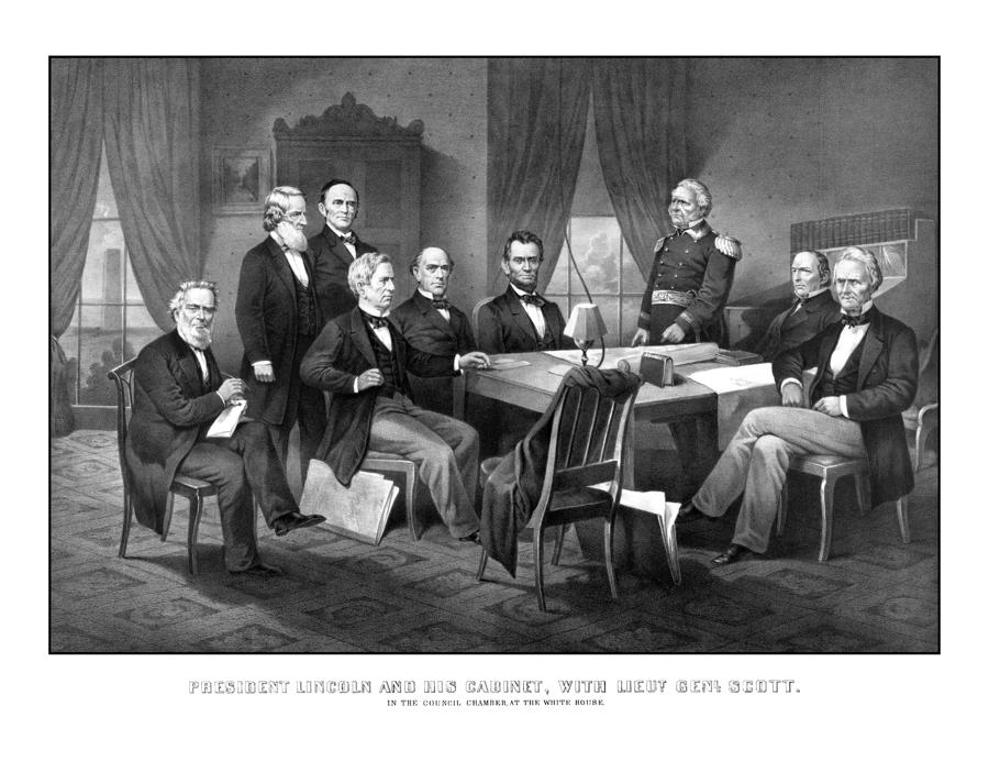 President Lincoln His Cabinet And General Scott Drawing
