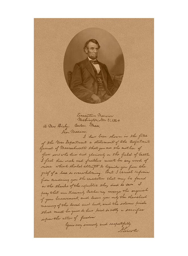 President Lincolns Letter To Mrs. Bixby Drawing