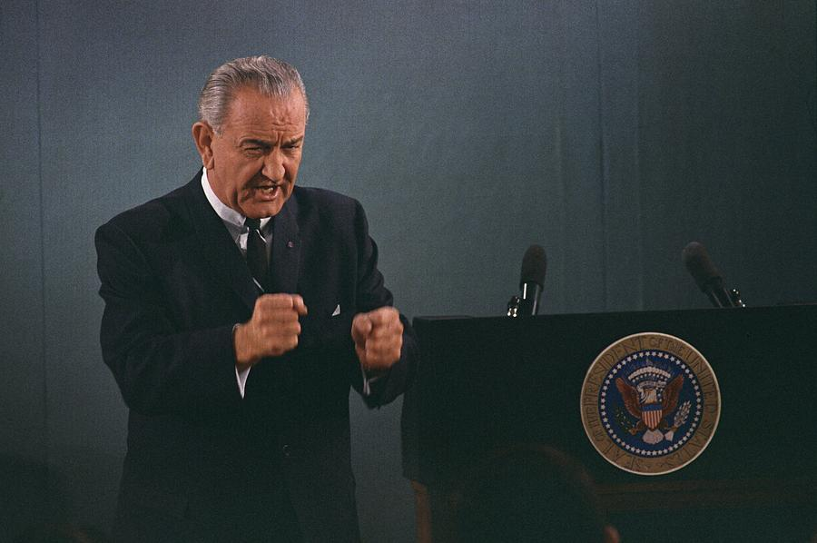 President Lyndon Johnson In An Emphatic Photograph  - President Lyndon Johnson In An Emphatic Fine Art Print