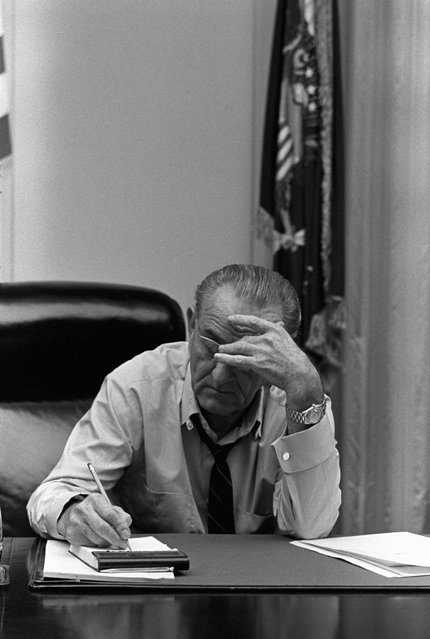 President Lyndon Johnson Making Notes Photograph  - President Lyndon Johnson Making Notes Fine Art Print