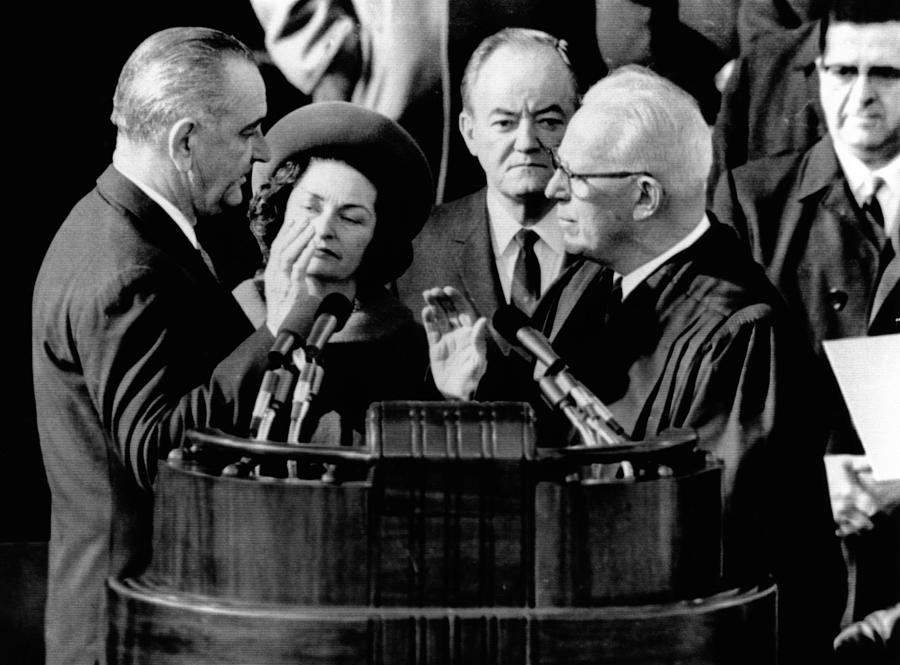 President Lyndon Johnson Takes The Oath Photograph  - President Lyndon Johnson Takes The Oath Fine Art Print