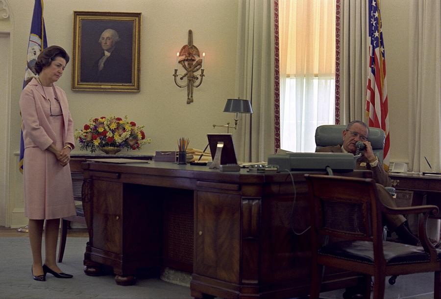 President Lyndon Johnson Telephones Photograph