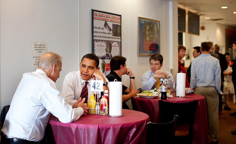 President Obama And Vp Joe Biden Wait Photograph