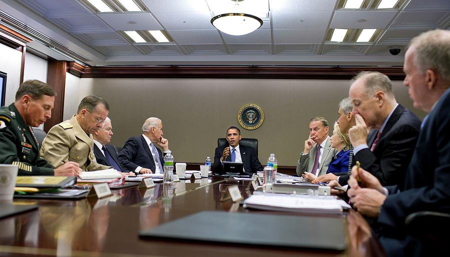 President Obama Meets With His National Photograph  - President Obama Meets With His National Fine Art Print