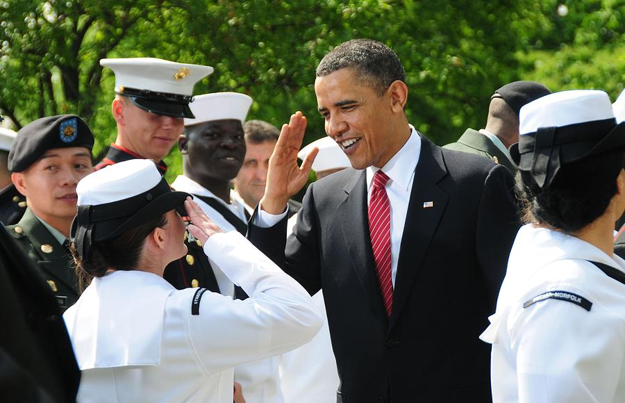 President Obama Salutes A Sailor Photograph  - President Obama Salutes A Sailor Fine Art Print
