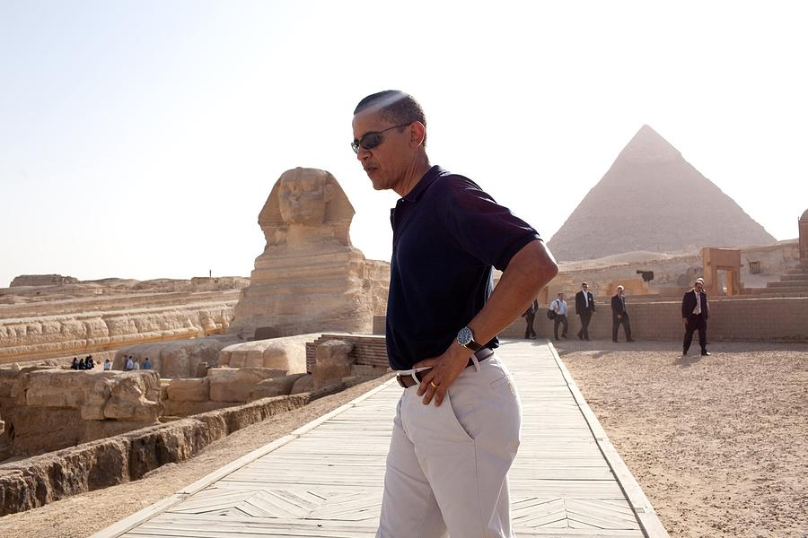 President Obama Tours The Egypts Great Photograph  - President Obama Tours The Egypts Great Fine Art Print