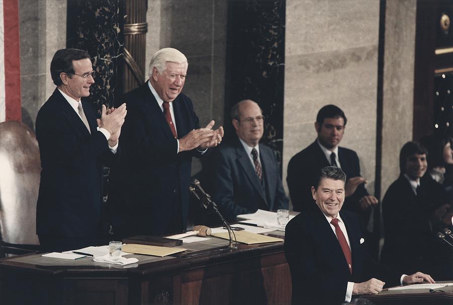 President Reagan Receives A Standing Photograph