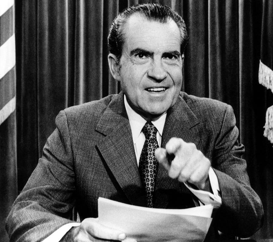 Nixon: President Richard Nixon, Announces Photograph By Everett