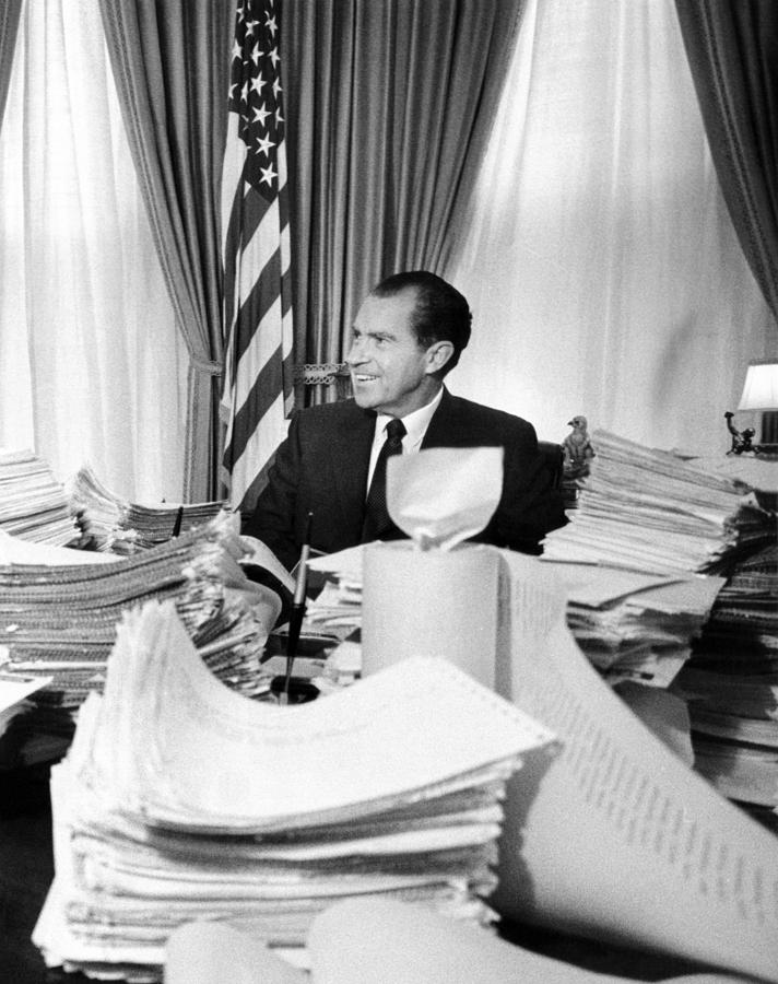 President Richard Nixon Sitting Among Photograph  - President Richard Nixon Sitting Among Fine Art Print