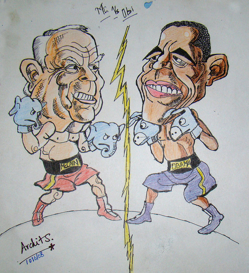 Presidential Fight Of Obama And Maccain Painting  - Presidential Fight Of Obama And Maccain Fine Art Print