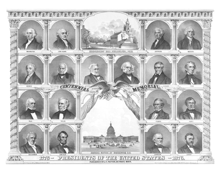 Presidents Of The United States 1776-1876 Drawing