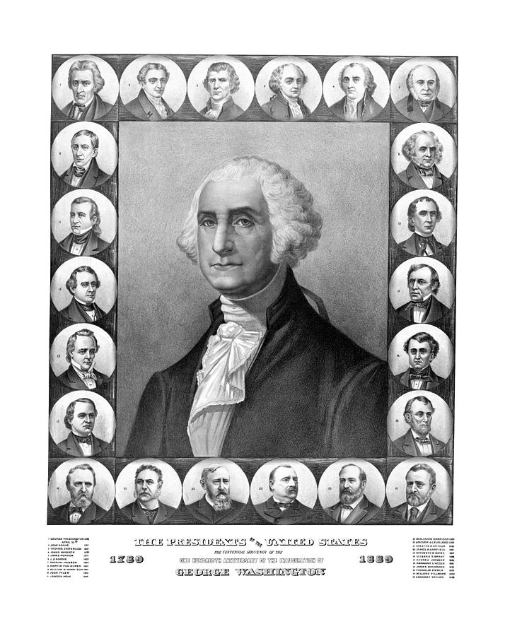 Presidents Of The United States 1789-1889 Drawing  - Presidents Of The United States 1789-1889 Fine Art Print