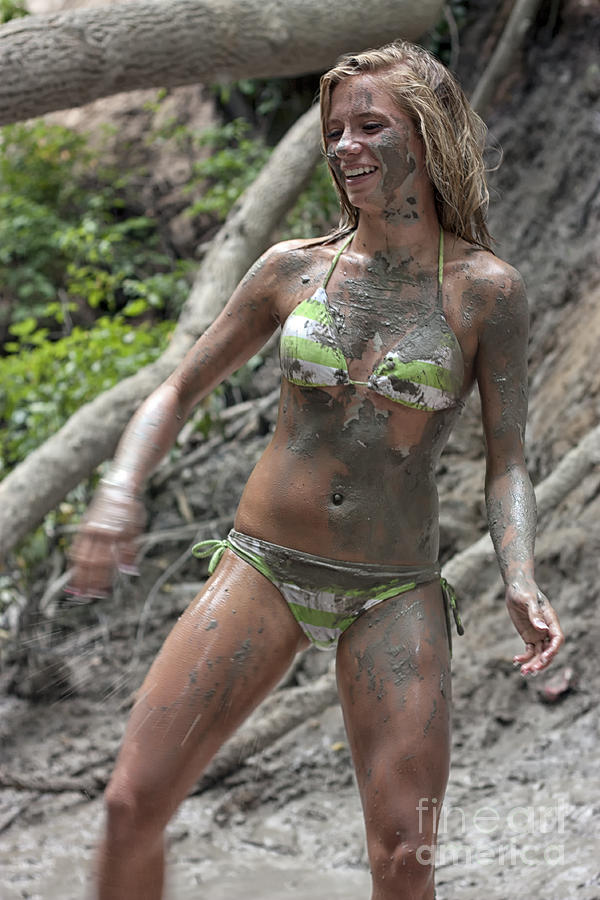 Pretty Girl Covered With Mud Photograph