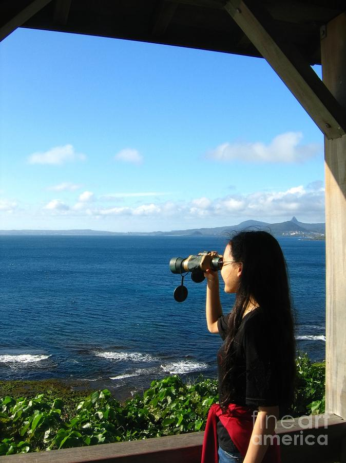 Pretty Girl Looking Through Binoculars Photograph