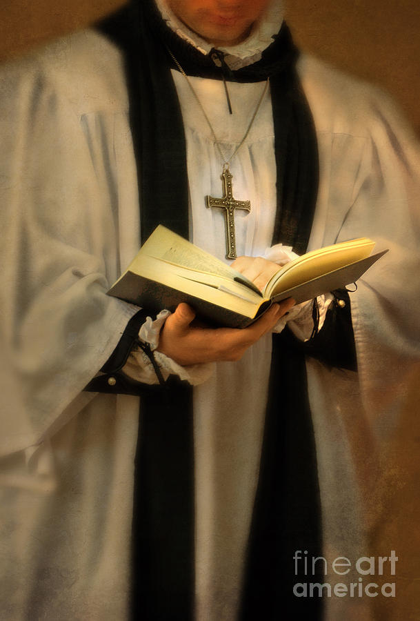 Priest With Open Bible Photograph