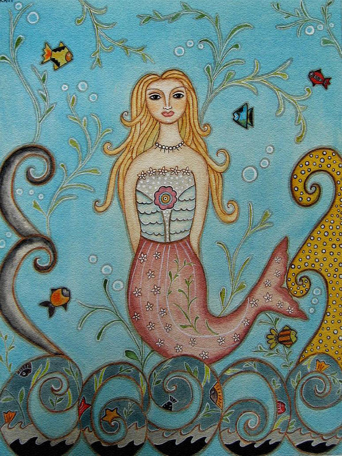 Princess Mermaid Painting  - Princess Mermaid Fine Art Print