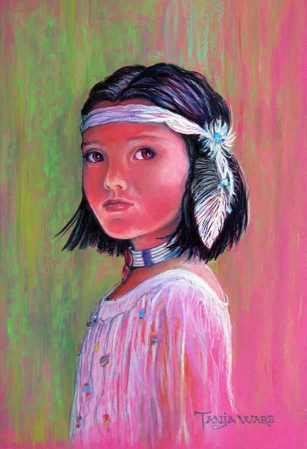 Native American Portrait Painting - Princess Of The Plains by Tanja Ware