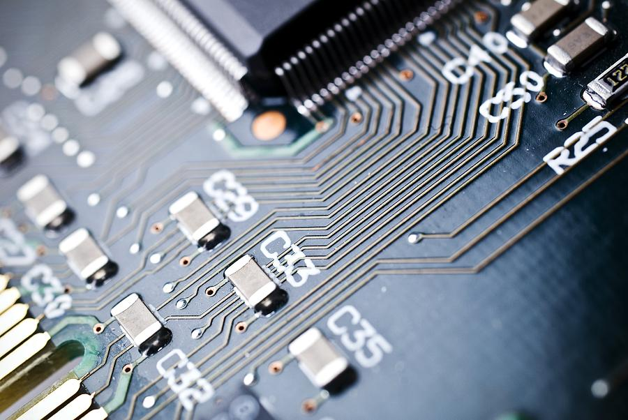 Circuit Board Photograph - Printed Circuit Board Components by Arno Massee