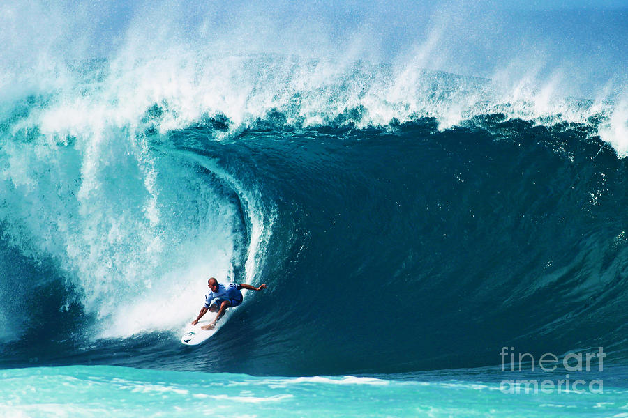 Pro Surfer Kelly Slater Surfing In The Pipeline Masters Contest Photograph  - Pro Surfer Kelly Slater Surfing In The Pipeline Masters Contest Fine Art Print