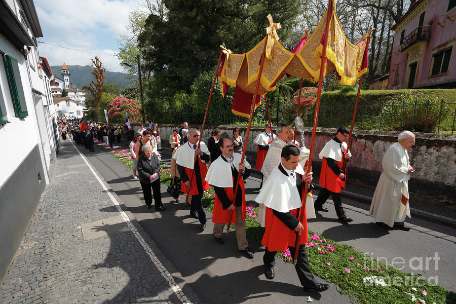 Procession In Azores Islands Photograph