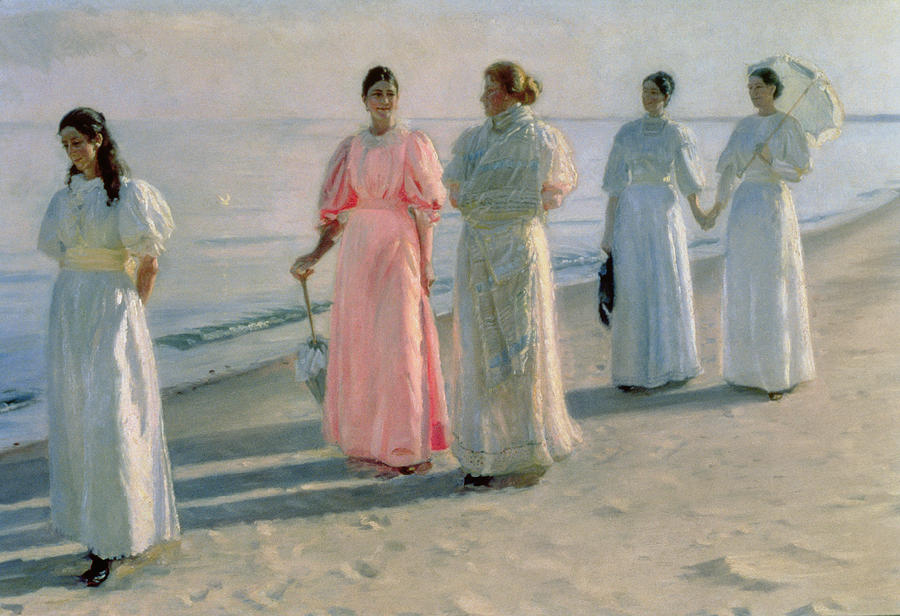 Promenade On The Beach Painting