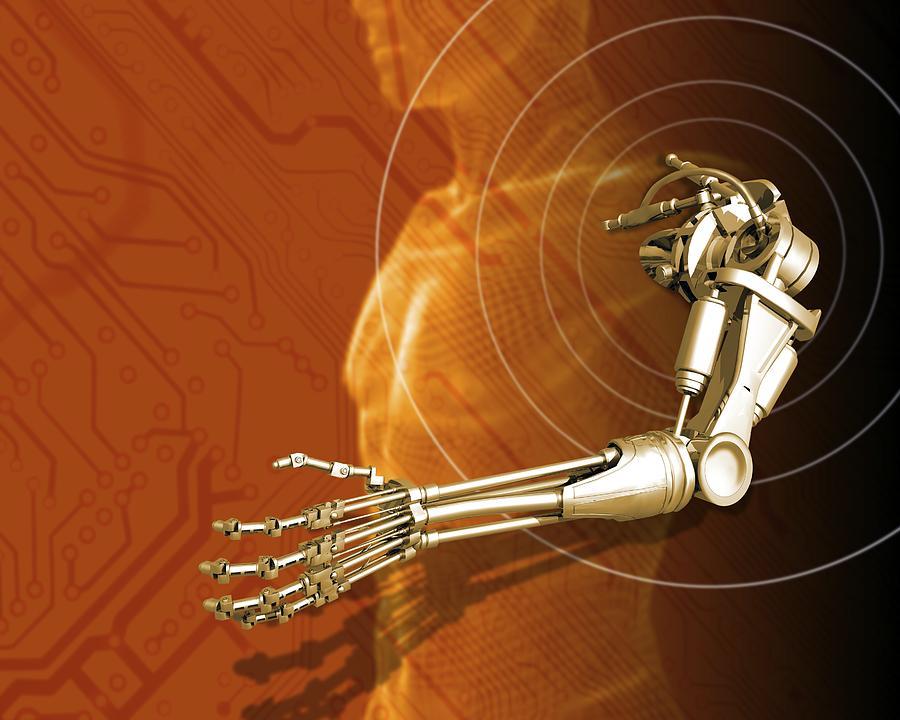 Prosthetic Robotic Arm, Computer Artwork Photograph