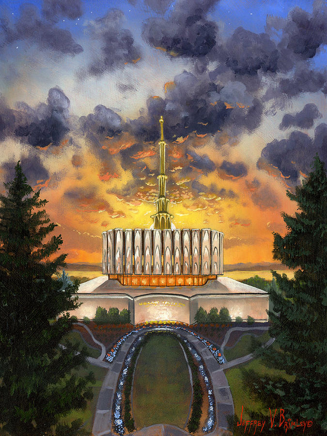 Jeff Painting - Provo Temple Evening by Jeff Brimley