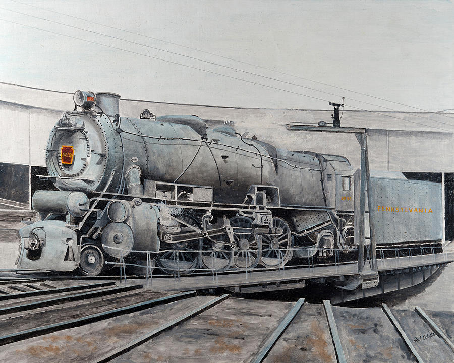 Prr M1 On Turntable Altoona Pa Painting  - Prr M1 On Turntable Altoona Pa Fine Art Print