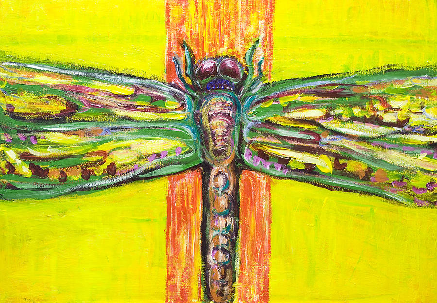 Psychedelic Dragonfly In Paradise Painting