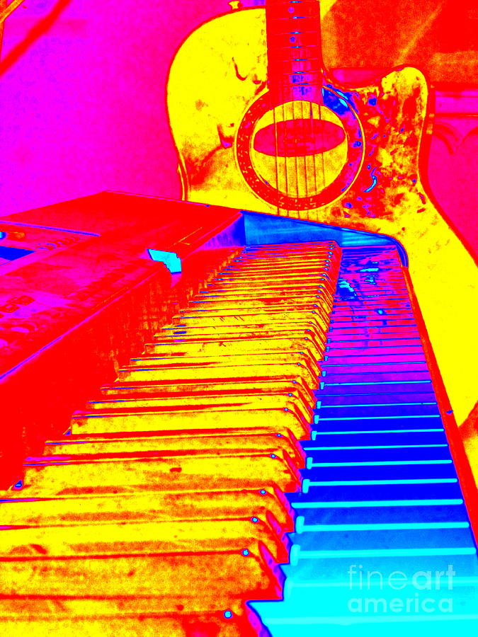 Keyboard Photograph - Psychedelic Tunes by Sue Wild Rose