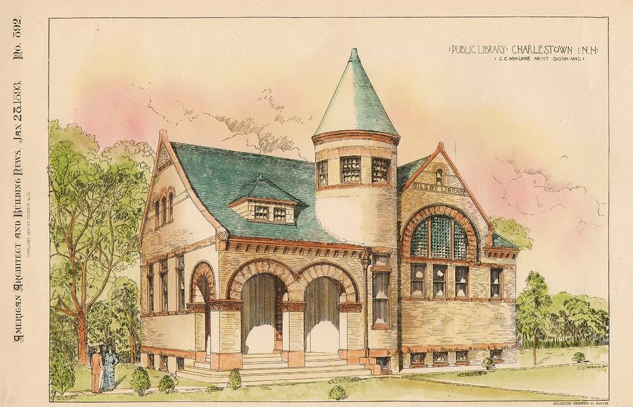 Public Library. Charlestown New Hampshire. 1893 Painting  - Public Library. Charlestown New Hampshire. 1893 Fine Art Print