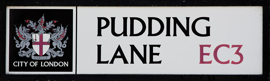 Sign Photograph - Pudding Lane by Dawn OConnor