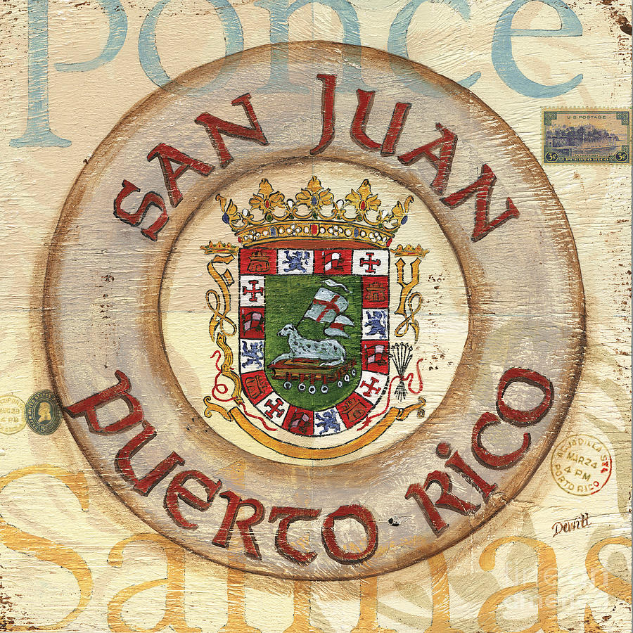 Puerto Rico Coat Of Arms Painting  - Puerto Rico Coat Of Arms Fine Art Print