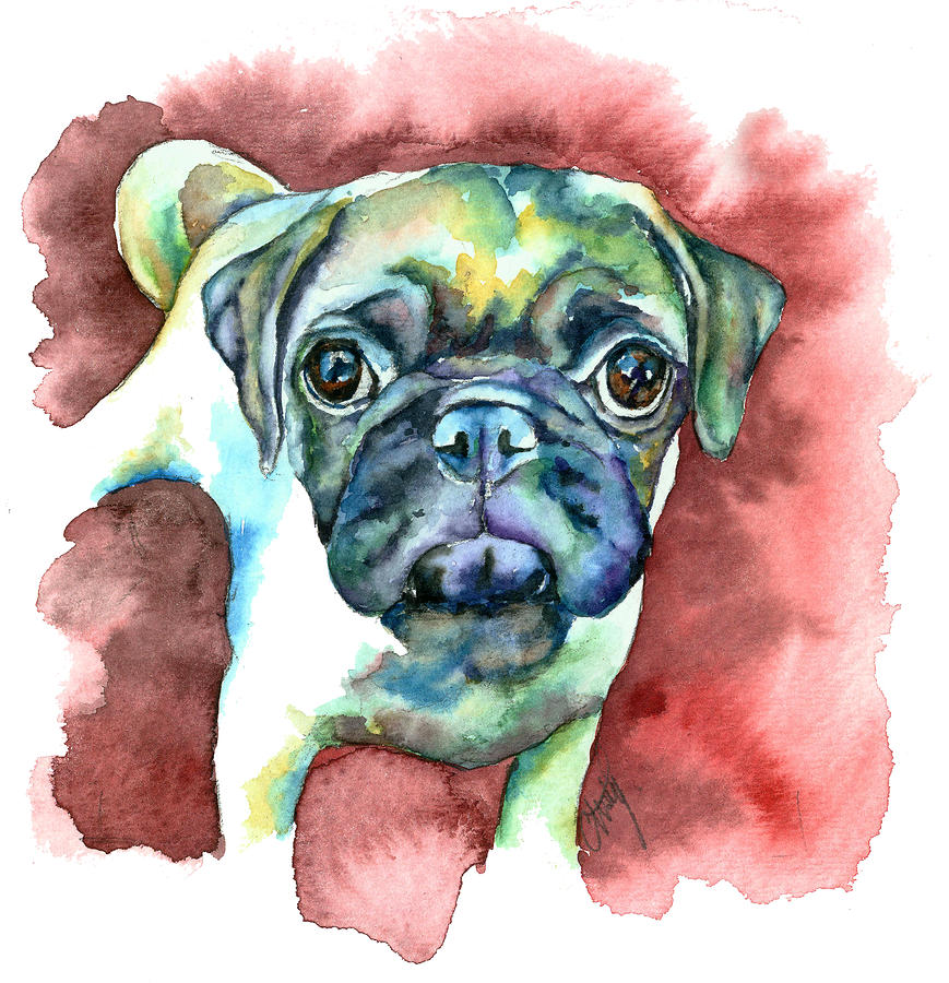 Pug In Red Painting  - Pug In Red Fine Art Print