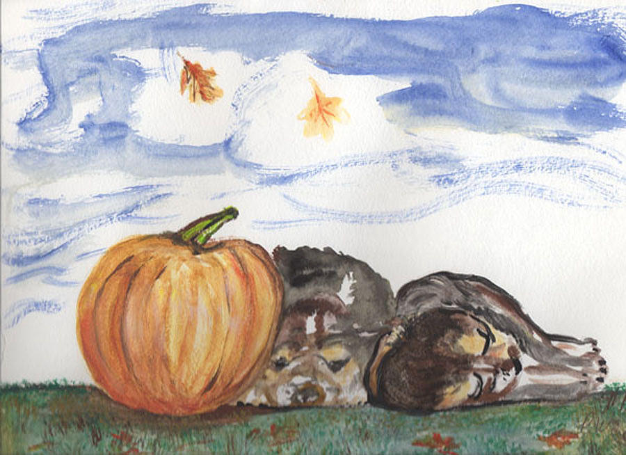 Pumpkin And Puppies Painting