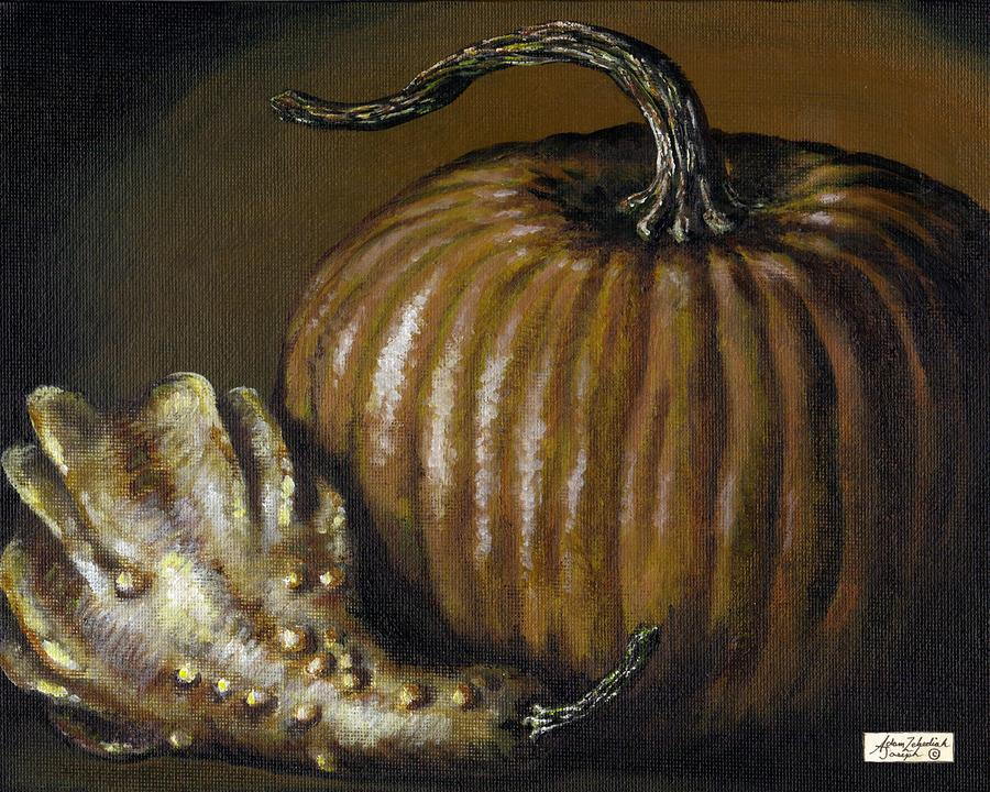 Pumpkin And Winged Gourd Painting  - Pumpkin And Winged Gourd Fine Art Print