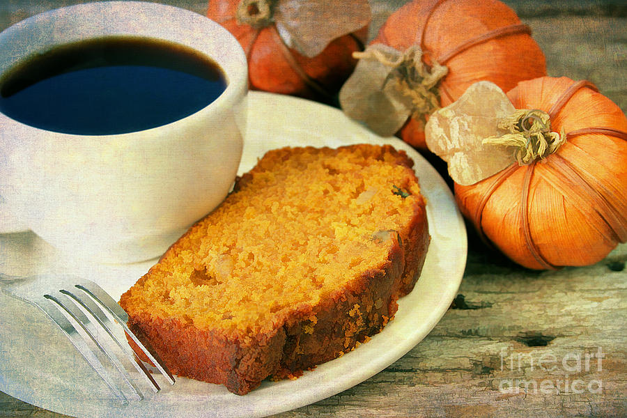 Pumpkin Bread And Coffee Photograph