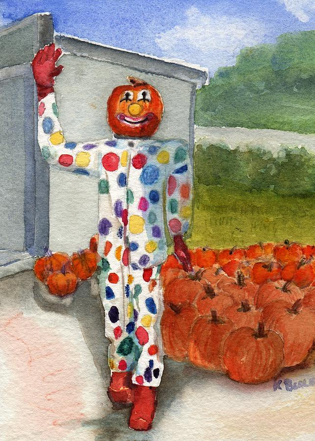 Pumpkin clown by katherine berlin pumpkin clown painting for Clown pumpkin painting