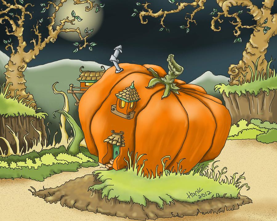 Pumpkin House Digital Art  - Pumpkin House Fine Art Print