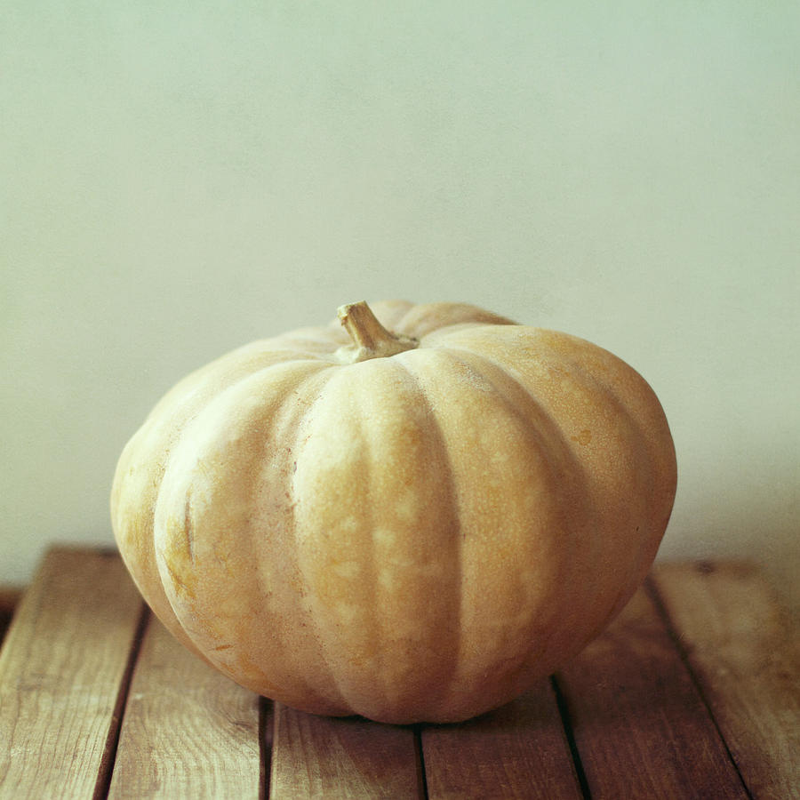 Pumpkin On Wooden Table Photograph  - Pumpkin On Wooden Table Fine Art Print