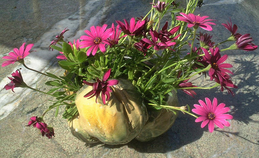 Pumpkin Vase With Flowers Sculpture  - Pumpkin Vase With Flowers Fine Art Print