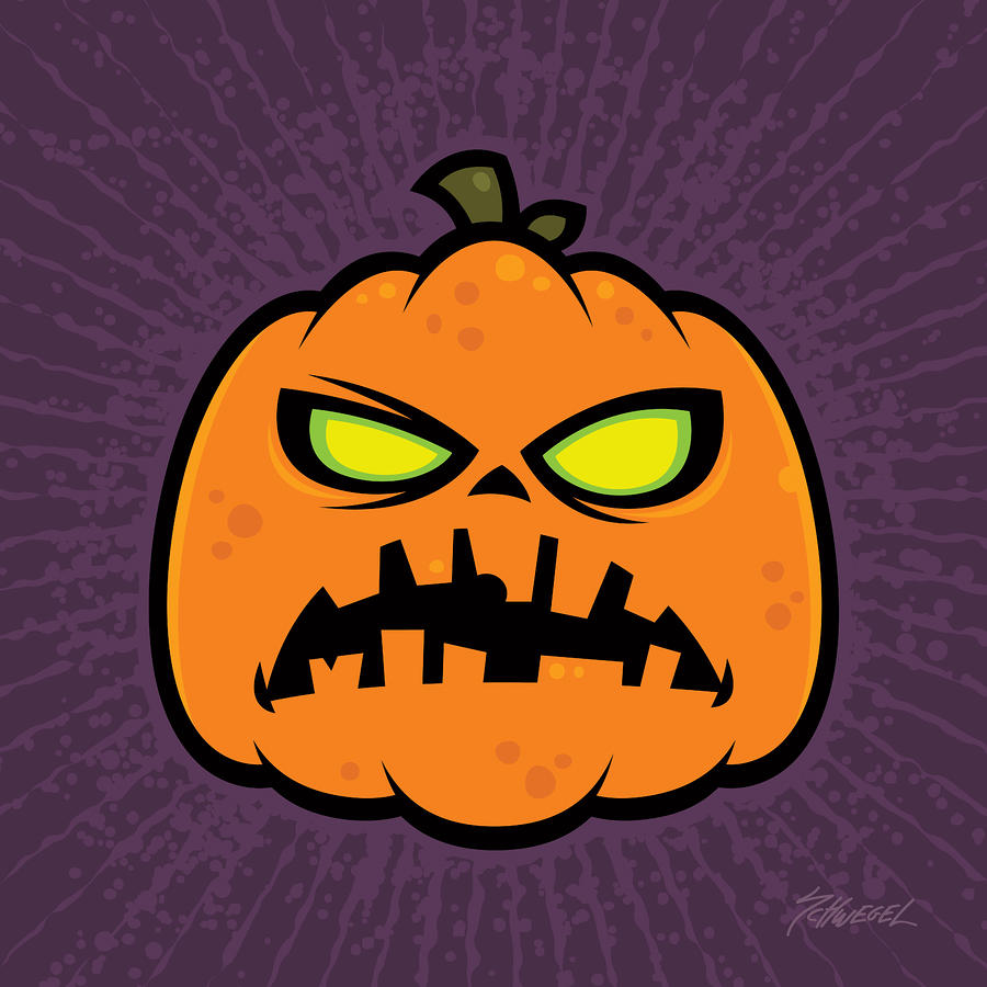 Pumpkin Zombie Drawing  - Pumpkin Zombie Fine Art Print