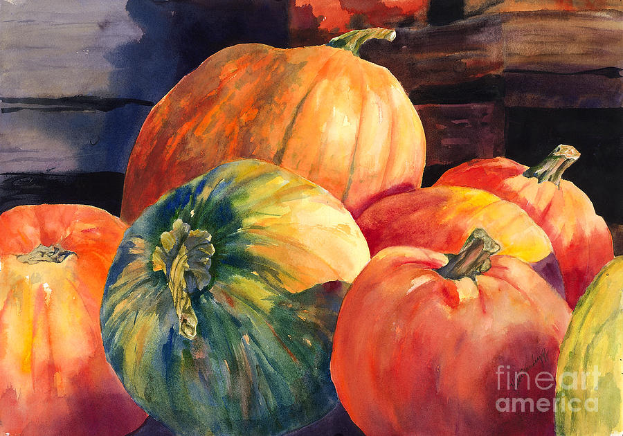 Image Gallery For Pumpkin Watercolor Paintings