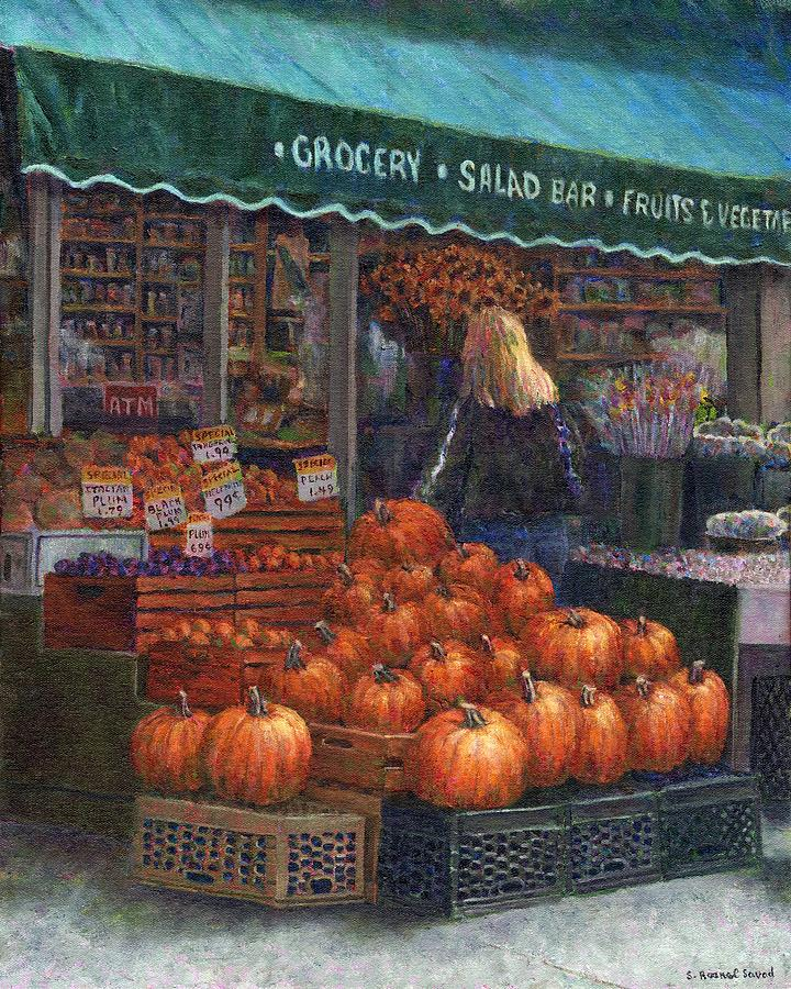 Pumpkins For Sale Painting  - Pumpkins For Sale Fine Art Print