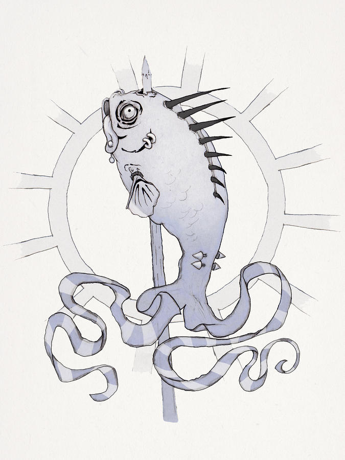 Punk Fish Drawing  - Punk Fish Fine Art Print