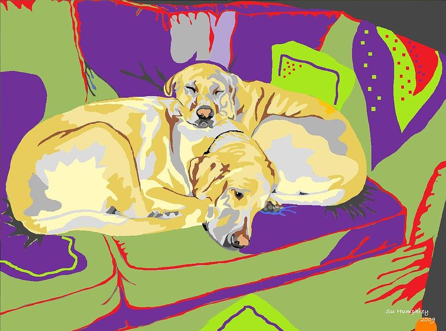 Puppy Pile Of Two Digital Art  - Puppy Pile Of Two Fine Art Print