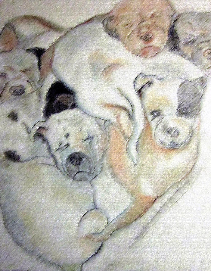 Pups Stacked For A Nap Drawing  - Pups Stacked For A Nap Fine Art Print