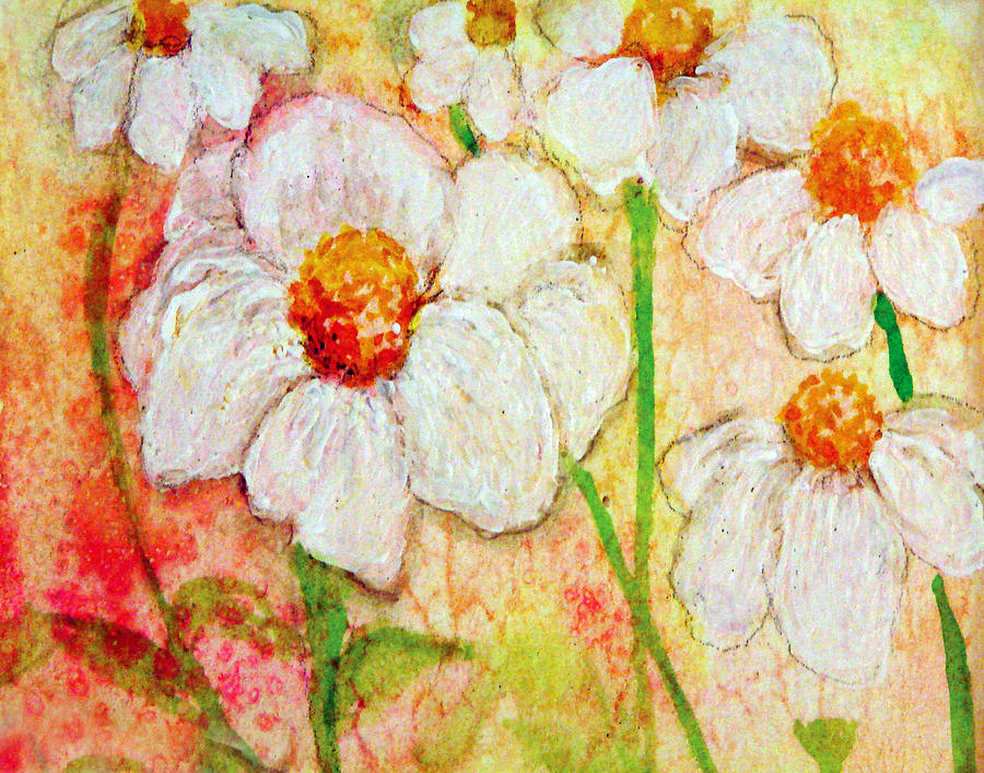 Purity Of White Flowers Painting  - Purity Of White Flowers Fine Art Print